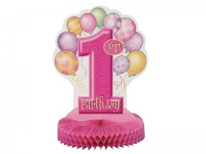 Unique-Party-23904-35-cm-Decorazione-per-Feste-Palloncini-Rosa-a-Nido-D'Ape-1st-Birthday-1